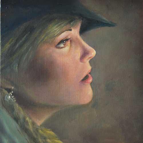 Realistisch portret van vrouw met hoed