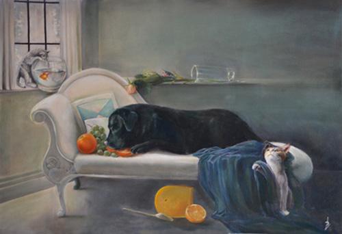 Desfinitieve schilderij als de baas van huis is