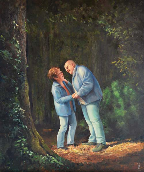 Verkerk schilderij over de liefde, portert in opdracht