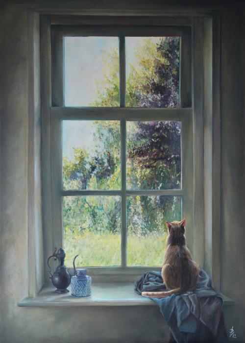 Realistisch Schilderij kat in het raam