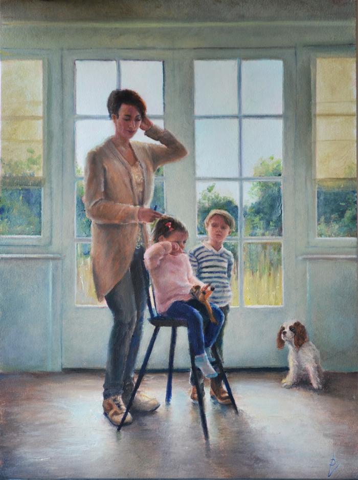 realistisch, schilderij, Luizenmoeder, olieverf op paneel