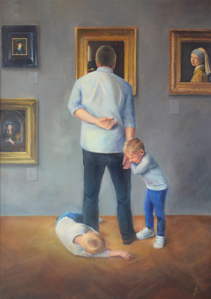 realistic painting, oil on panel, kids in museum