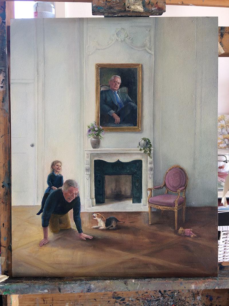 Realistisch portret van opa met kleinkind
