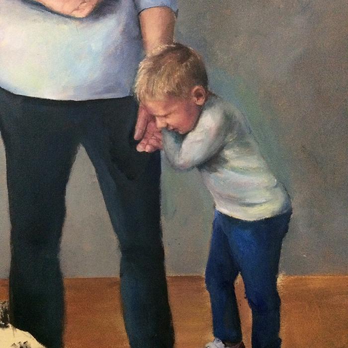 Jongetje wil weg uit museum. Vader kijkt naar Gerrit Dou en Vermeer