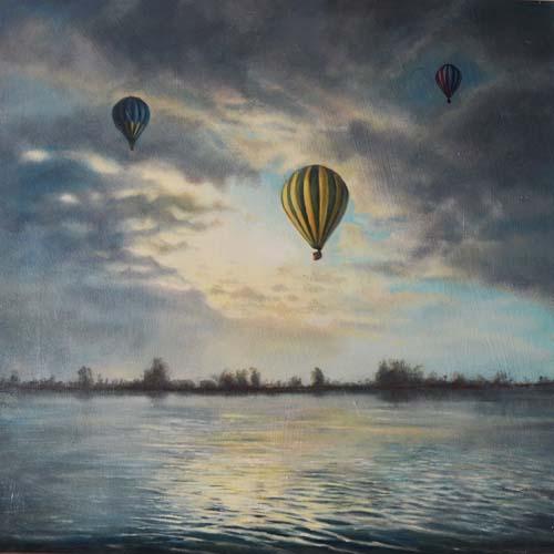 schilderij olieverf ballon Reeuwijkse plassen