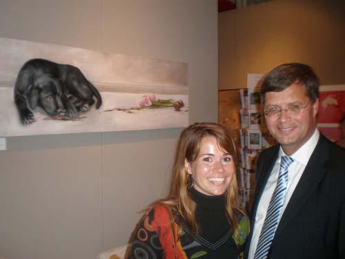 Realistisch schilderij, minister president Balkenende op beurs