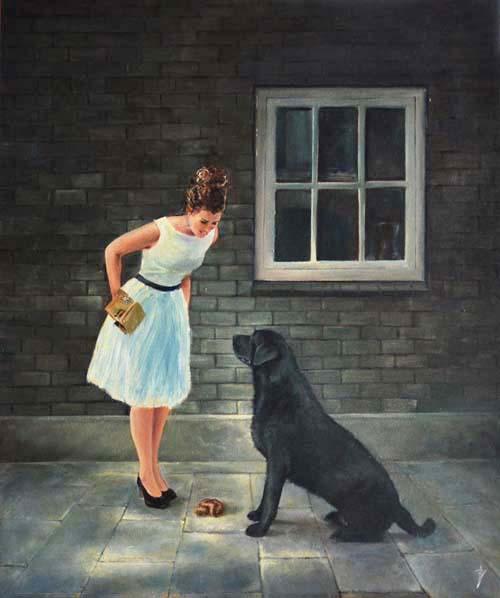 Realistisch schilderij door Verkerk met hond