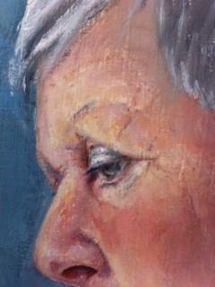Ingezoomd op de huid van het portret