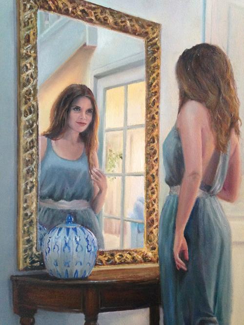 Portret in opdracht, schilderij vrouw bij spiegel, portretschilder