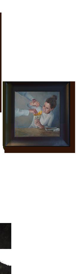 schilderij pommes patat, portret, schilder