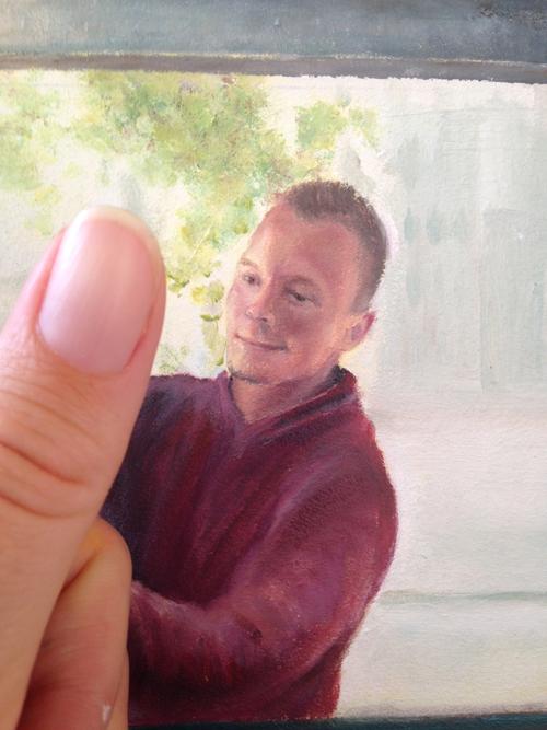 Proces schilderij Desiree Verkerk, ingezoomd op het gezicht van de schilder, portretschilder
