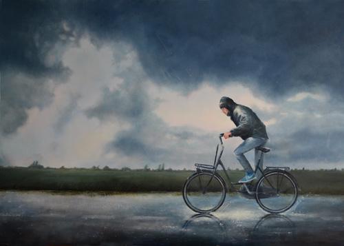 Realistsch schilderij Hollandse zomer fietser slecht weer