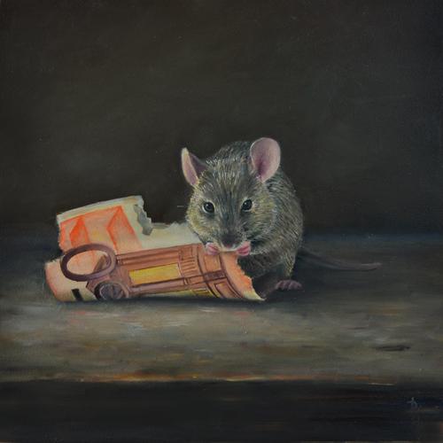 Realistisch schilderij van een muis