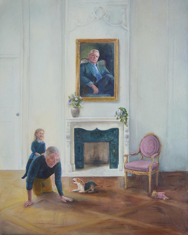 Realistisch olieverf schilderij, van opa met kleinkind
