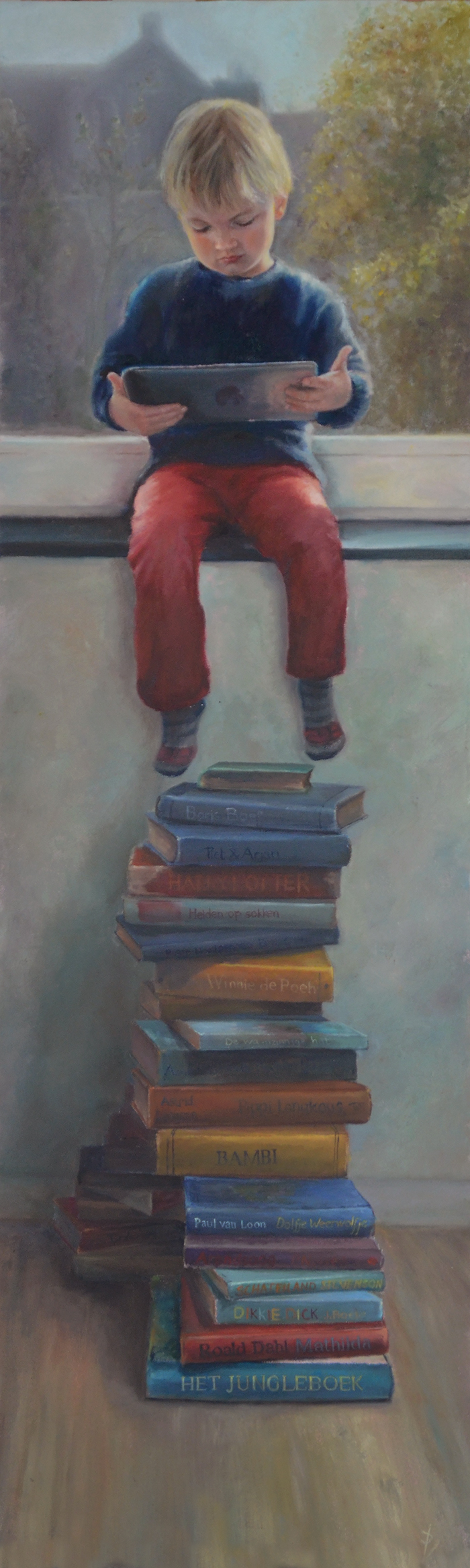 painting of boy reading iPad instead of books